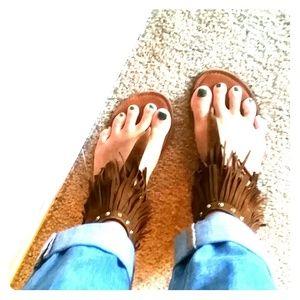 Shoes - BOHO FRINGE SANDALS